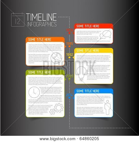 Vector dark Infographic timeline report template with icons and descriptive bubbles