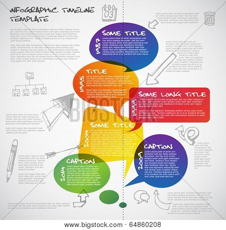 Vector Infographic timeline report template made from colorful speech bubbles and doodles