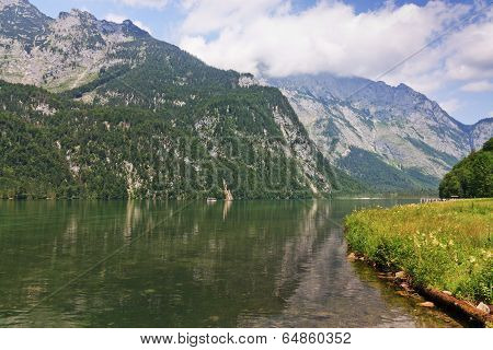 Bavarian Lake Koenigsee And Mountains