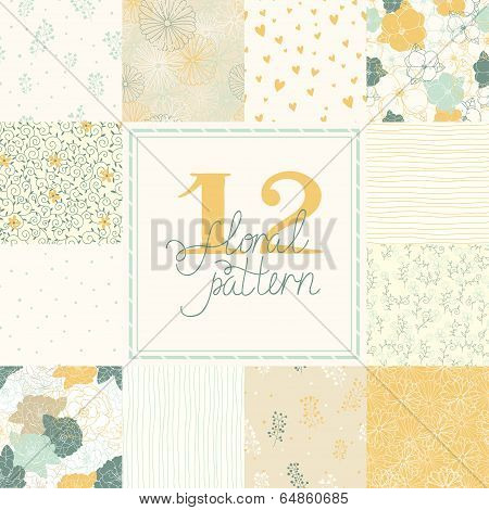 12 Elegant romantic vector seamless patterns