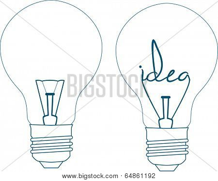 the word idea in a lightbulb on a white background, hand lettering