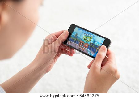 Playing Angry Birds Go Mobile Game
