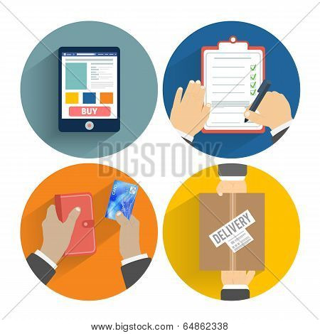 Set Of Hands Clients Purchasing