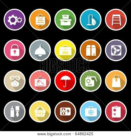Home Storage Icons With Long Shadow