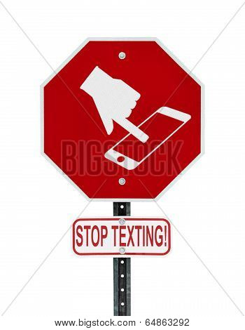 Stop Texting Icon Sign - Isolated