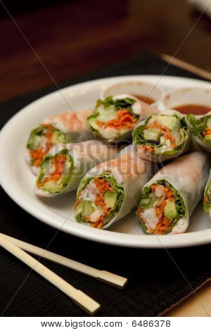 Plate Of Spring Rolls And Sauce