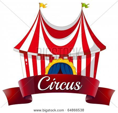 Illustration of a circus label on a white background