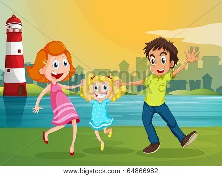 Illustration of a happy family near the river across the lighthouse