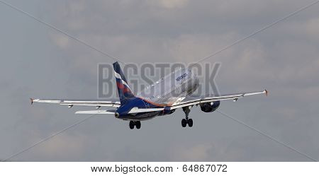 Aeroflot - Russian Airlines Airbus A319-111 aircraft on the cloudy sky background