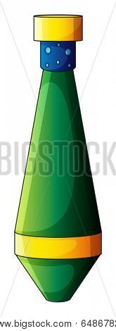 Illustration of an elongated bomb on a white background