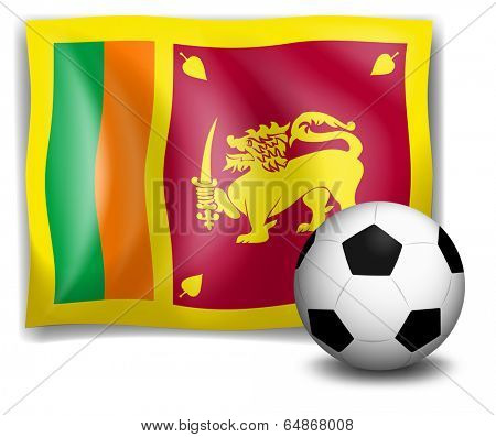 Illustration of the flag of SriLanka with a soccer ball on a white background