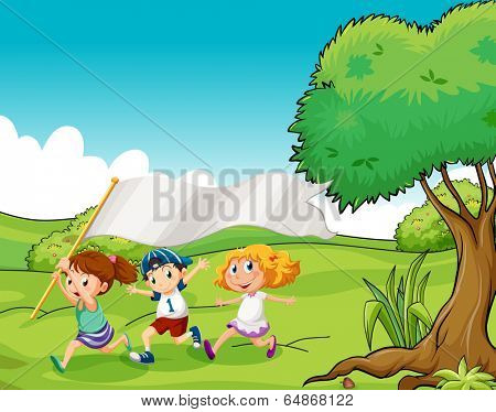 Illustration of the three kids at the hilltop with an empty flag banner