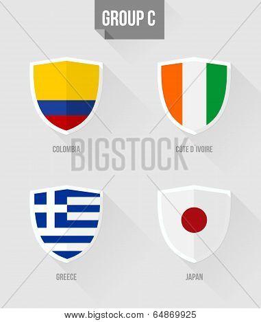 Brazil Soccer Championship 2014 Group C Flags