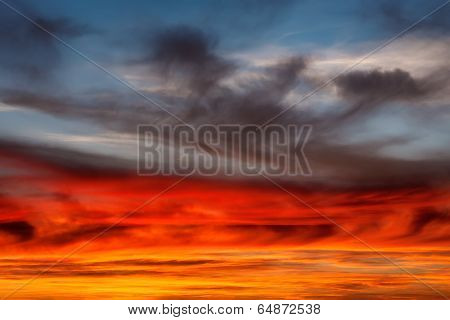 Dramatic Sky, Vibrant Cloud Formation At Sunset