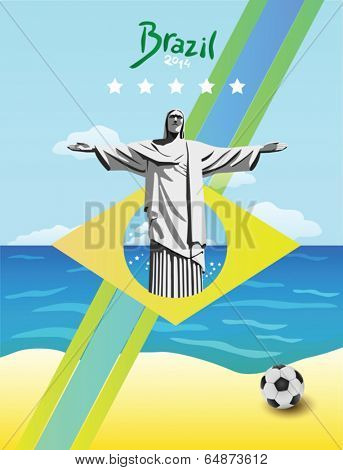 Brazil vector with ball and christ the redeemer statue