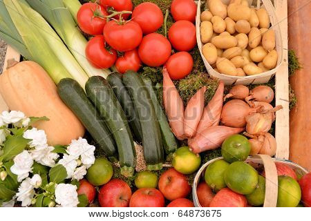 background of different vegetables, fruits and flowers
