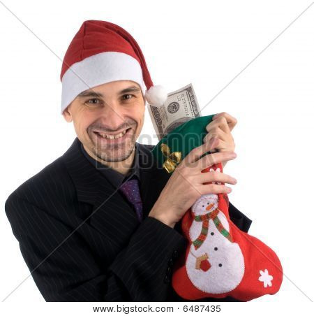 Smiling Men In A Santa's Hat