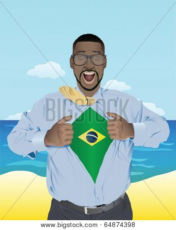 Excited businessman opening shirt to reveal brazilian flag vector
