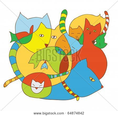 Cute card with cats funny illustrations
