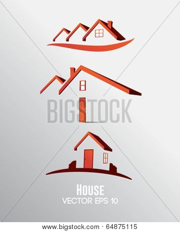 Digitally generated homeowner vector in red and grey