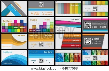 set of eight creative vector business card. front and back side