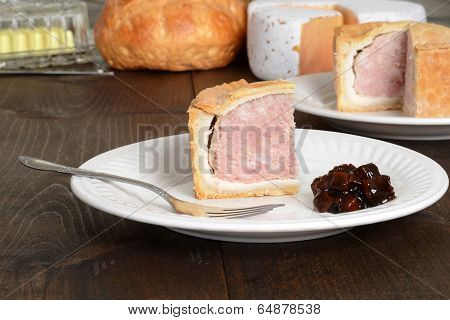 slice pork pie with relish