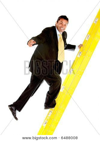 Business Man Climbing A Ladder
