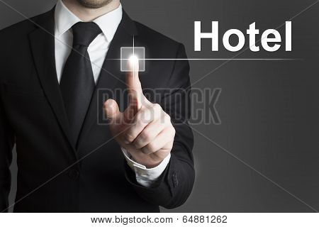 Businessman Pressing Virtual Button Hotel