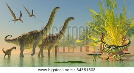 Argentinosaurus In Lake