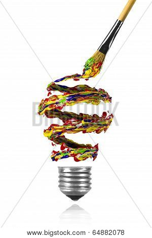 Blue Red Yellow Green Spiral Paint Trace And Paintbrush Made Light Bulb