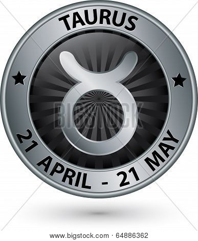 Taurus Zodiac Silver Sign, Taurus Symbol Vector Illustration