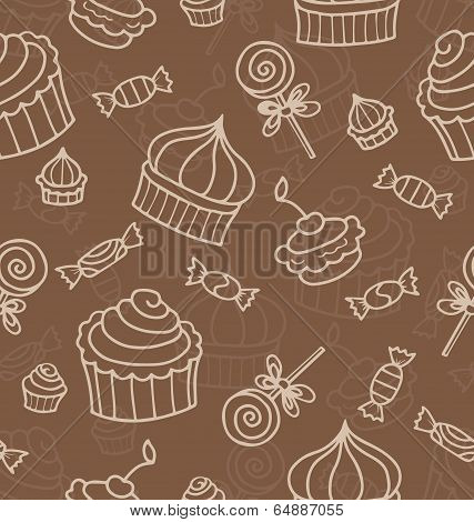 Seamless Vector Pattern Or Texture With Sweets, Hand Drawn Muffins And Lollipops. Background With Sw