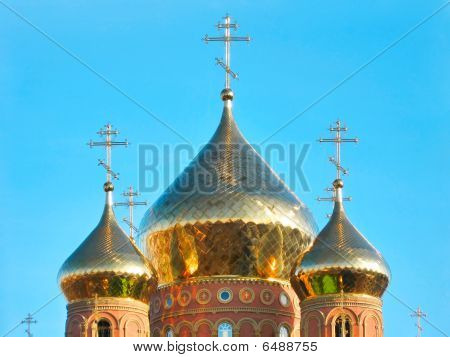 Shining Golden Onion Domes of St.Vladimir Cathedral