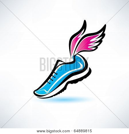 Sneakers With Wings, Outlined Sport Shoes Illustration