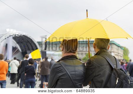 Couple With Umbrella