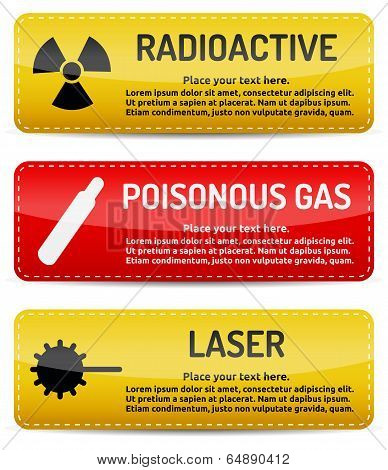 Radioactive, Poisonous Gas, Laser - Danger Sign Set