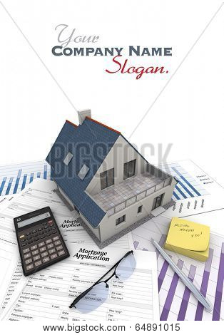 A house on top of a table with mortgage application form, calculator, blueprints, etc..