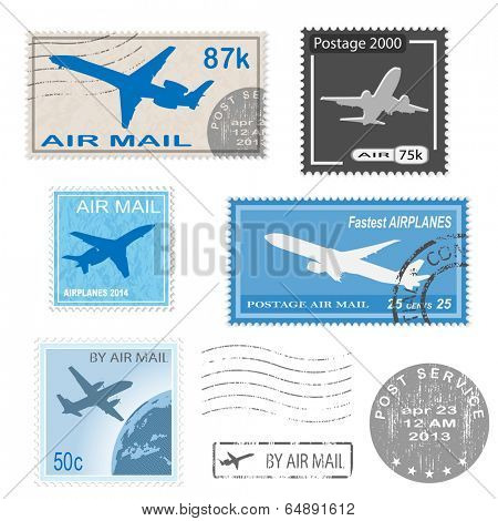 Set of postal mark, stamps. Vector icon. Illustration. EPS10.