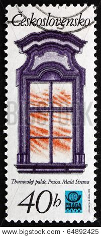 Postage Stamp Czechoslovakia 1977 Window, Thun Palace