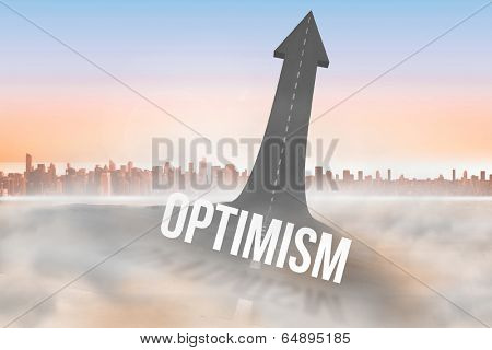 The word optimism against road turning into arrow