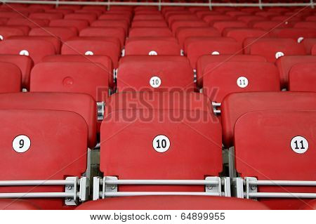 Empty Red Grandstand Stadium Seats