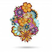 picture of mehndi  - Henna Paisley Mehndi Abstract Floral Vector Illustration Element - JPG