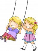 picture of playmate  - Illustration of a Little Girl Pushing Her Sister on a Swing - JPG