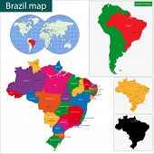 image of falklands  - Colorful Brazil map with states and capital cities - JPG