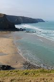 Porthtowan beach near St Agnes Cornwall England UK a popular tourist destination poster