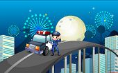 foto of long winding road  - Illustration of a policeman and his patrol car in the middle of the road - JPG