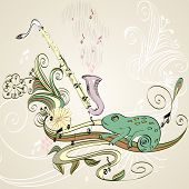 picture of clarinet  - drawn illustration of a musical instrument clarinet - JPG