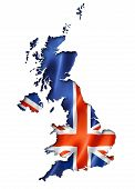 picture of three-dimensional  - United Kingdom UK flag map three dimensional render isolated on white - JPG