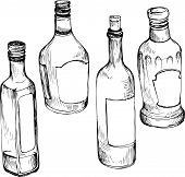 picture of drawing beer  - set of hand drawn glass bottles - JPG