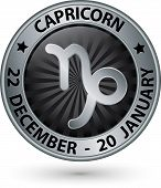 stock photo of capricorn  - Capricorn zodiac silver sign virgo symbol vector illustration - JPG